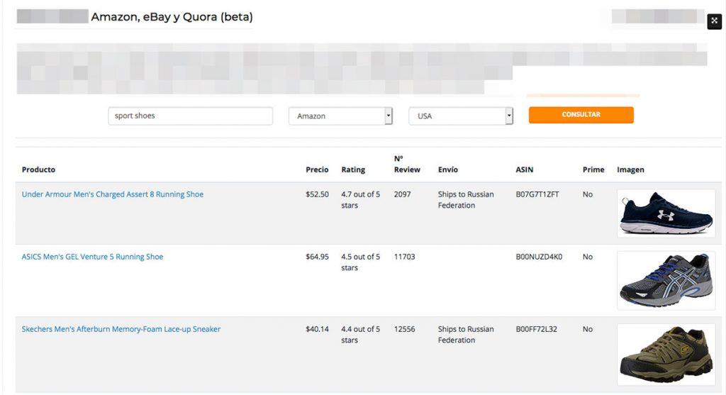 Web Scraping de Amazon, eBay y Quora con openSERPS